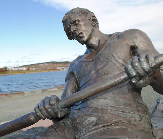 The Rower sculpture on Quidi Vidi lake