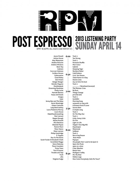 2013 NL RPM Listening party schedules
